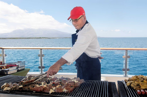 Grill, baby, grill! Seafood lovers will enjoy the fresh meals cooked right in front of them on the deck of Celebrity Xpedition.