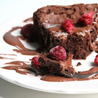 Flourless Chocolate Whiskey Cake with Chocolate Whiskey Pudding Sauce.