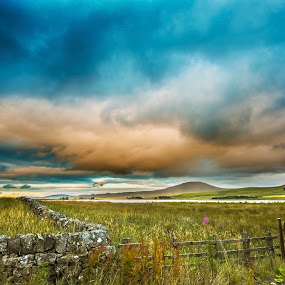 Scottish Evening by Aiden Ogden - Landscapes Prairies, Meadows & Fields ( clouds, scotland, skyline, hdr, colorful, colors, lake, colours, colour, sky, colourful, nature, cloudy, evening )