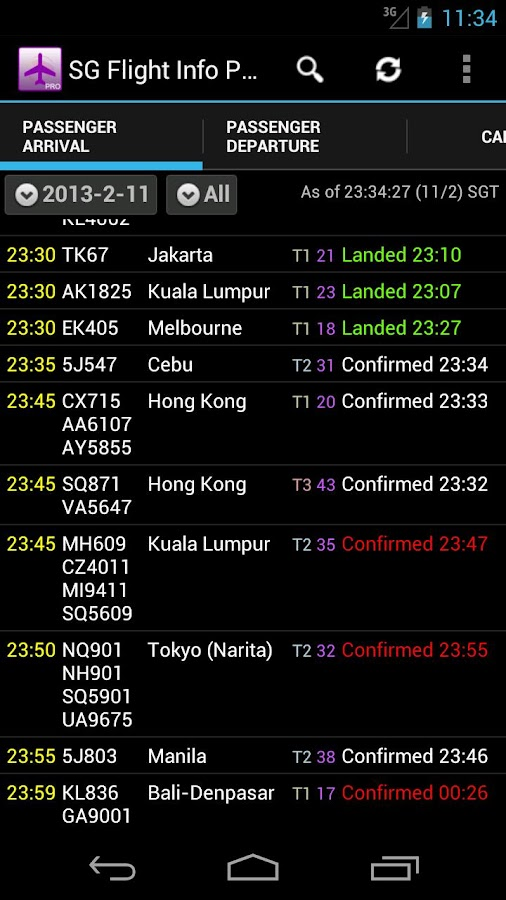 Singapore Flight Info Pro - screenshot