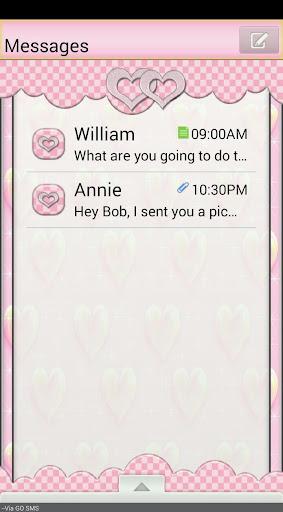 GO SMS THEME SparkleHearts2