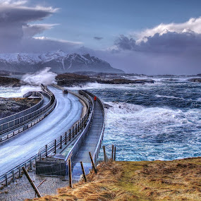 No Fear... by Jan Helge - Buildings & Architecture Bridges & Suspended Structures ( jan helge, storm, atlantic road, no fear, norway )