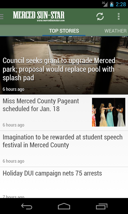 Merced Sun-Star, CA newspaper - screenshot