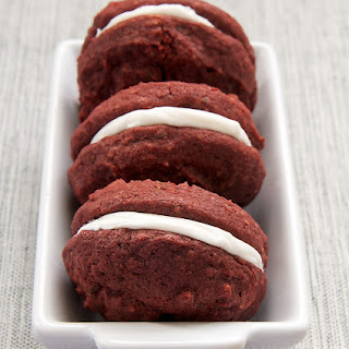 Red Velvet Chocolate Chunk Sandwich Cookies