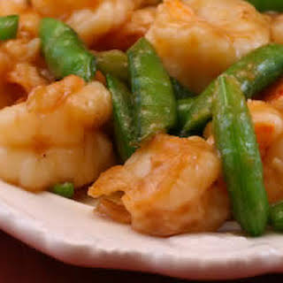 Stir-Fried Shrimp with Snow Peas (or Sugar Snap Peas) and Ginger.