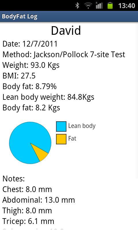 BodyFat Log- screenshot