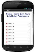 Screenshot of Kumpulan Nama Bayi Jawa
