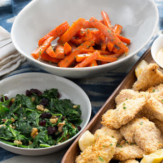 Oven-Baked Chicken Tenders with Honey-Glazed Carrots & Cranberry-Walnut Spinach