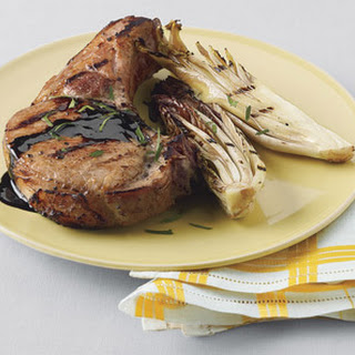 Quick-Brined Grilled Pork Chops with Treviso and Balsamic Glaze Recipe