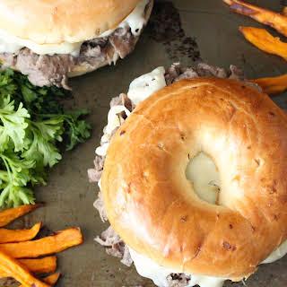 Steak and Cheese Bagel Sandwich.