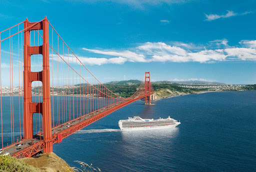 Grand-Princess-SF-Bay -  Grand Princess enters San Francisco Bay beneath the Golden Gate Bridge.