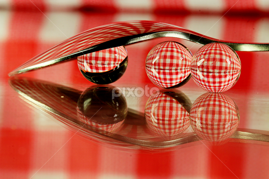 by Dipali S - Artistic Objects Other Objects ( abstract, reflection, check, blue, artistic, spoon )