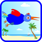 Funny Bird. At the beach icon