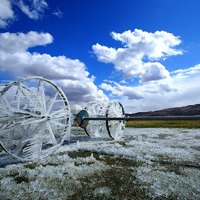 Reno Iced! by Gary Piazza - Artistic Objects Other Objects ( farm land, reno, ice, fields, irrigation,  )