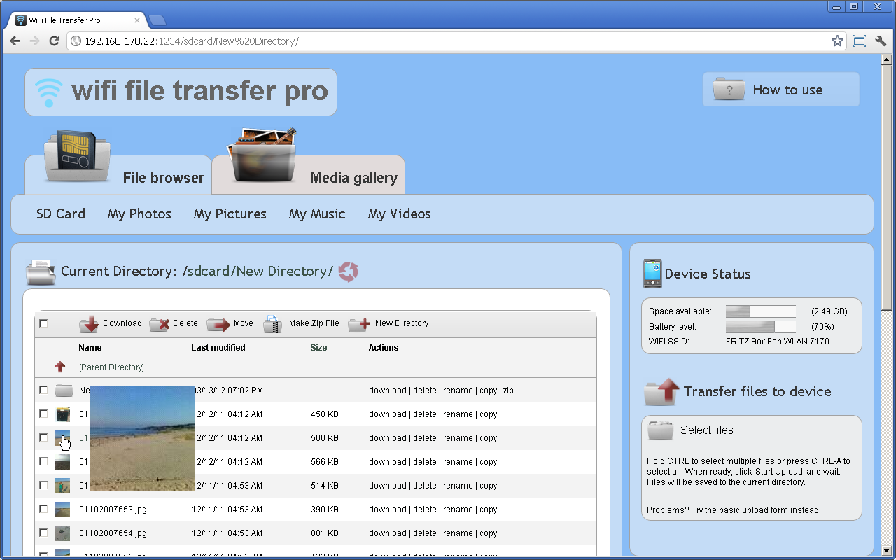 WiFi File Transfer Pro- screenshot