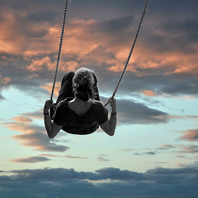 Swing me ... by Georgios Kalogeropoulos - People Street & Candids ( clouds, girl, sky, sunset, swing )