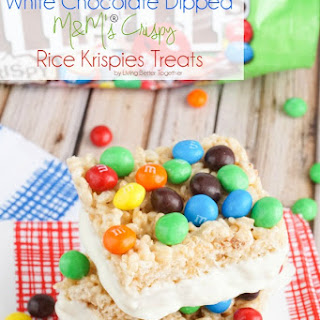 White Chocolate Dipped M&M's® Crispy Rice Krispies Treats