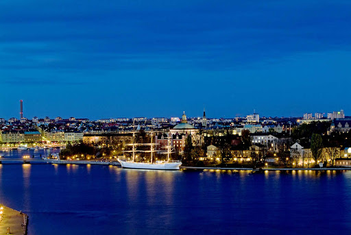 "The ""Blue Hour""along the waterfront in Stockholm, Sweden."