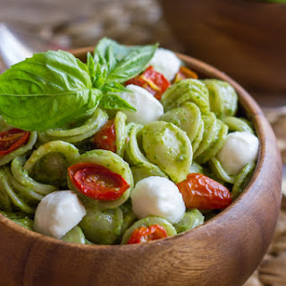 Orecchiette With Pesto and Oven Roasted Tomatoes.