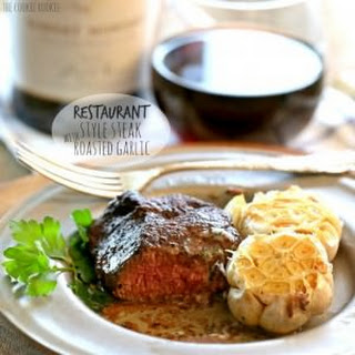 Restaurant Style Steak with Roasted Garlic and Cilantro Butter