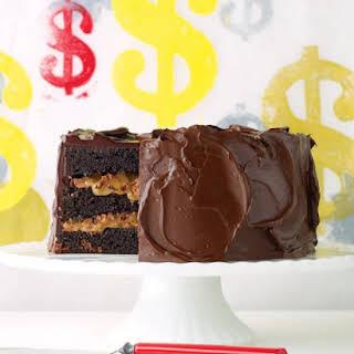 Chocolate Cake with Milk-Chocolate Crunch and Caramel Sauce.