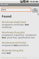 Screenshot of German-English