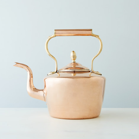 Vintage Copper Large Round English Tea Kettle, Mid 19th Century