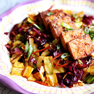 Spicy Baked Marinated Tofu with Vibrant Cabbage Stir Fry.