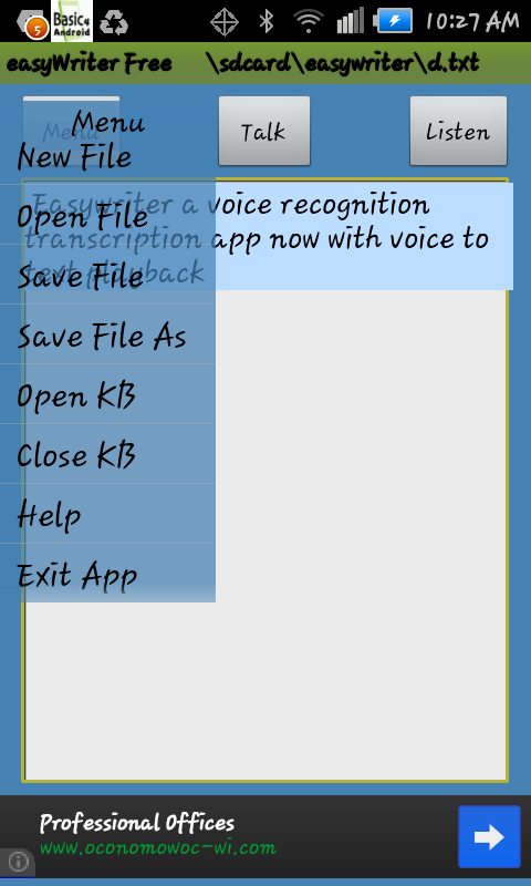 Voice Transcription EasyWriter- screenshot