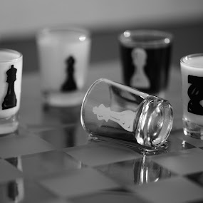 The Fall by Richard Wicht - Black & White Objects & Still Life ( checkmate, b&w, fallen, chess, white, king, black,  )
