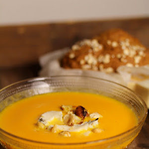 Pumpkin,Gorgonzola, and Hazelnut Soup