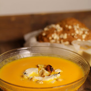 Pumpkin,Gorgonzola, and Hazelnut Soup.