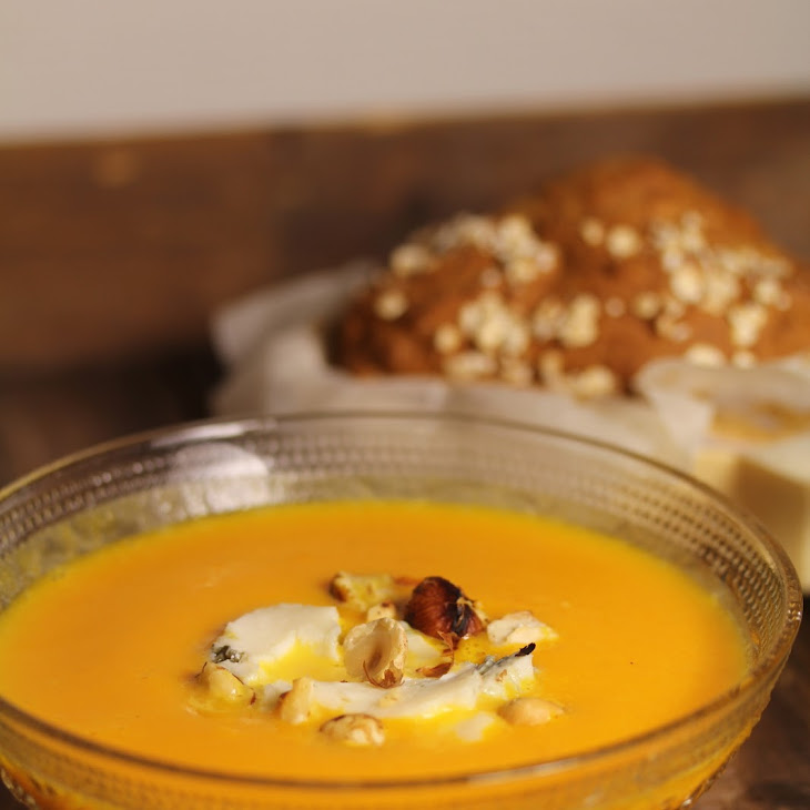 Pumpkin,Gorgonzola, and Hazelnut Soup