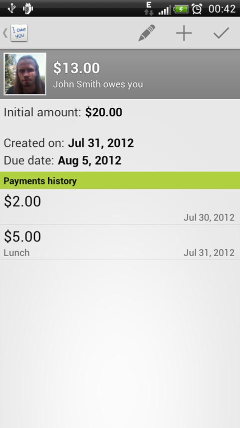 IOU Pro - debt manager - screenshot