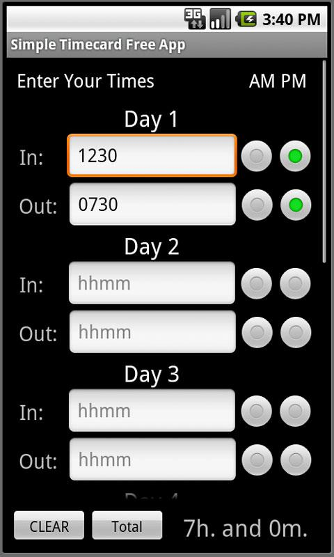 Simple Timecard Free - screenshot