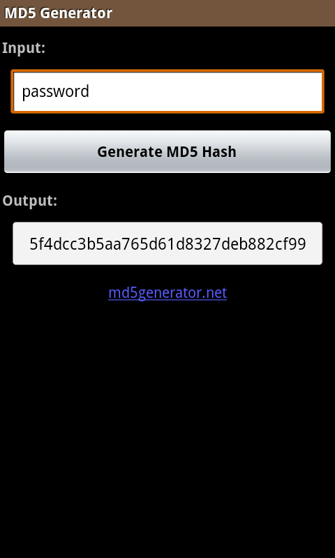 MD5 Generator - screenshot