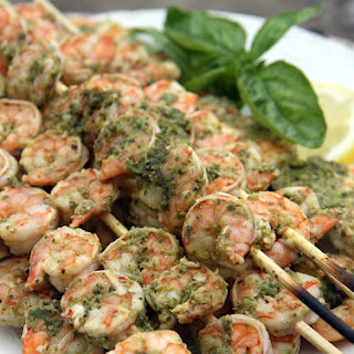 Lemon Pesto Grilled Shrimp
