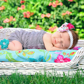 Sweet Dreams by Amber Welch - Babies & Children Babies ( lace, grass, infant, baby girl, sleeping, sleep, newborn, girl, headband, summer, baby, smile, flowers )