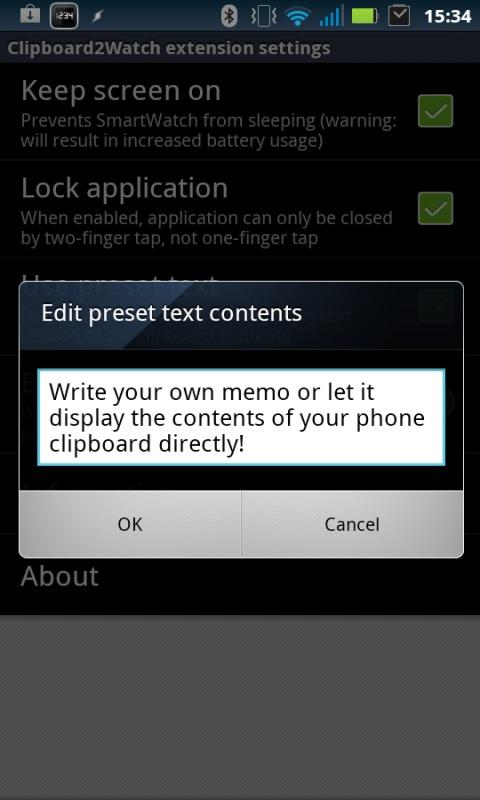 Clipboard2Watch - screenshot
