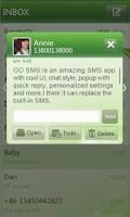 Screenshot of GO SMS Pro simple green theme