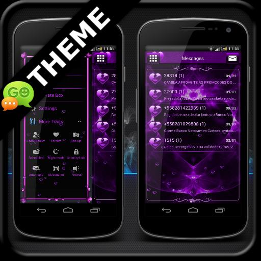 Valentines Purple GO SMS Theme
