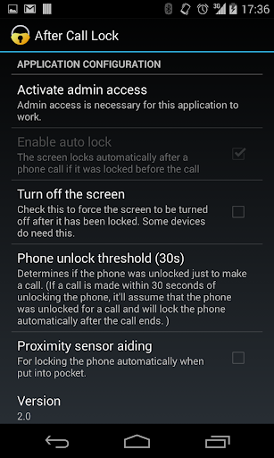 After call screen lock