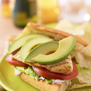 GRILLED BUFFALO CHICKEN AND AVOCADO SANDWICHES.