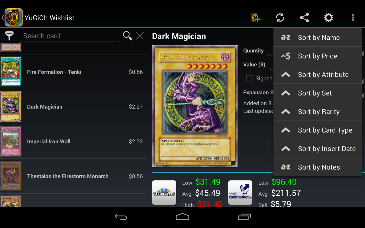 Wishlist for YuGiOh!- screenshot