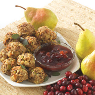 Sausage Stuffing Balls with Cranberry Pear Sauce