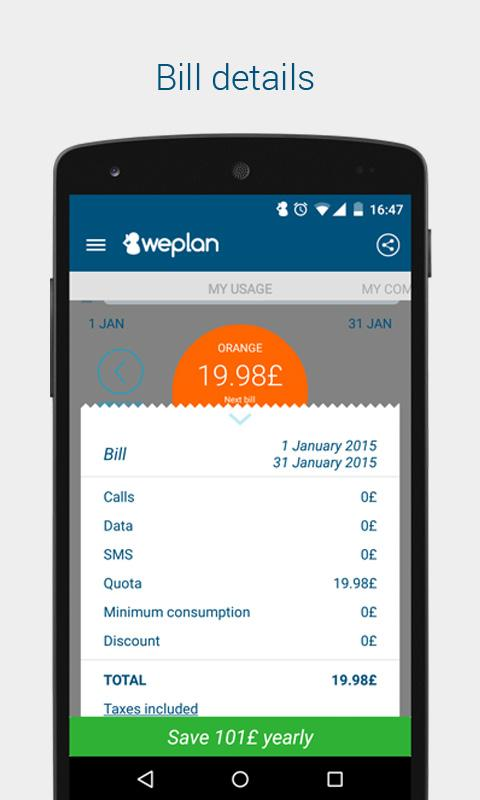 Weplan: Data and voice usage- screenshot