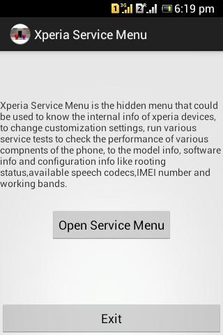 Xperia Service Menu