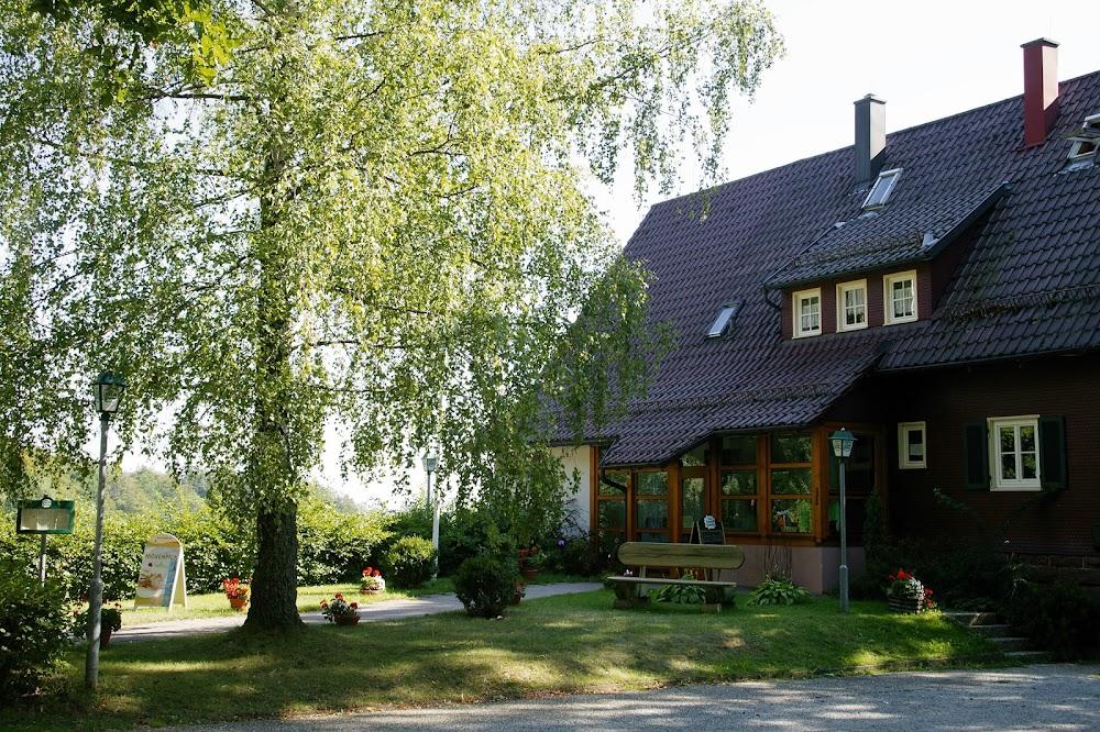 Du siehst die Außenansicht des Wanderheims in Zavelstein. Das Wanderheim ist ein Gebäude mit dunklen Dachziegeln und ein Baum ist im Vordergrund zu sehen.