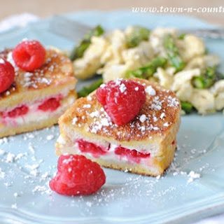 Farmhouse Breakfast with Raspberry Stuffed French Toast.