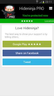 Hideninja VPN PRO for Android - screenshot thumbnail